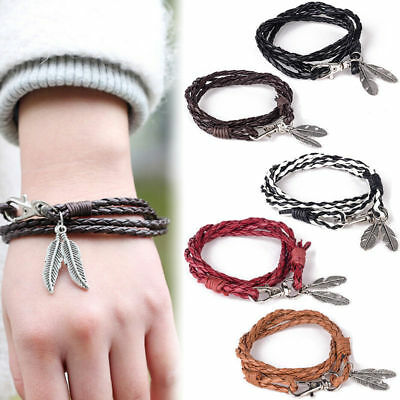 Fashion Ethnic Bohemian Feather Braided Leather Bracelet Boho Bangle Bracelets
