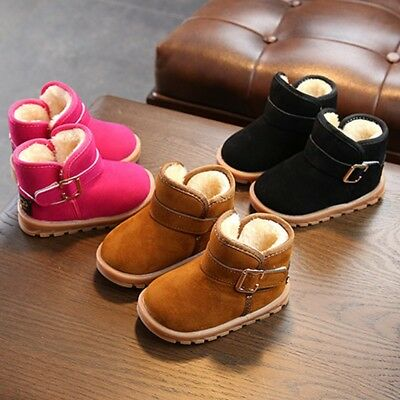 1-6T Toddler Baby Kids Boys Girls Winter Warm Soft Sole Crib Shoes Snow Boots