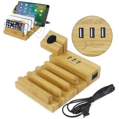 Bamboo Charging Dock Station Charger Holder Stand 3 USB For iPhone Apple Watch
