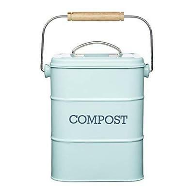 KitchenCraft Living Nostalgia Metal Kitchen Compost Bin, 16 x 12 x 24 cm - Vinta