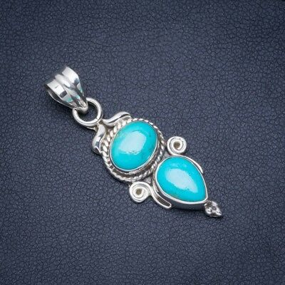 "Turquoise 925 Sterling Silver Pendant 1.5"" A0056"