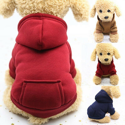 Dog Sweater Pet Coat Jacket Hoodie Hooded Pocket Outwear Clothes Winter Soft