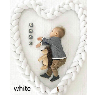 1/2/3M Infant Plush Crib Bumper Bed Braid Pillow Pad Baby Protector Bedding Cot
