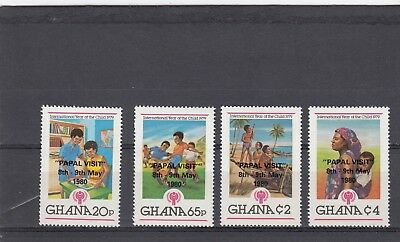 a114 - GHANA - SG912-915 MNH 1980 YEAR OF THE CHILD OVPT PAPAL VISIT