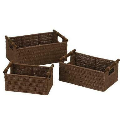 Household Essentials ML-7050 Paper Rope Basket Stained - Set of 3