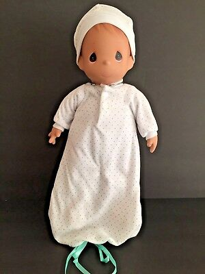 """Precious Moments Doll Brown Baby 16"""" Newborn Knit Gown & Cap #1067"""