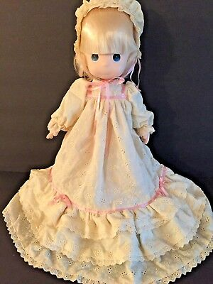 """Precious Moments Doll Jenny 16"""" Christening Gown & Bonnet #1012"""