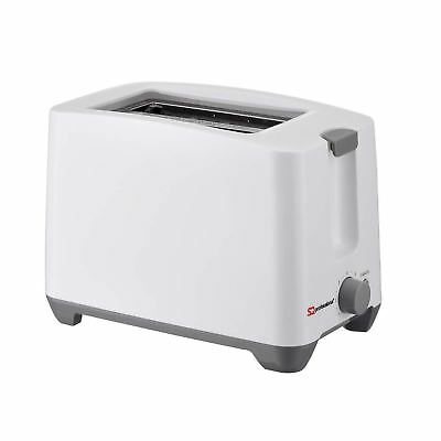 White 750W Plastic 2 Slice Toaster with 7 Browning Levels & Cancel Function