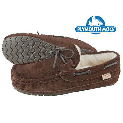 NEW Plymouth Mocs Men's Size 13M Wool Lined Brown Suede Moccasin Slippers