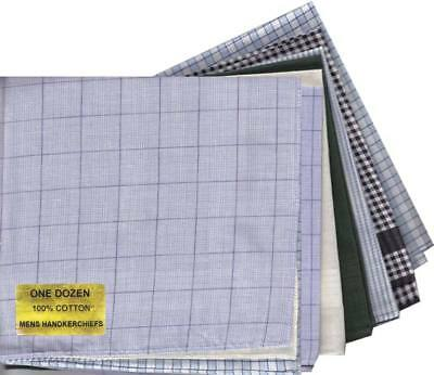 12 Pk  Mens Cotton Handkerchiefs - Assorted Patterns - Xmas Gift