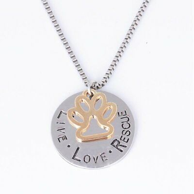 Charm LIVE LOVE RESCUE Hollow Paw Claw Pendant Necklace Women Jewelry Gift Party