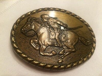 Vintage Solid Brass Pony Express Belt Buckle