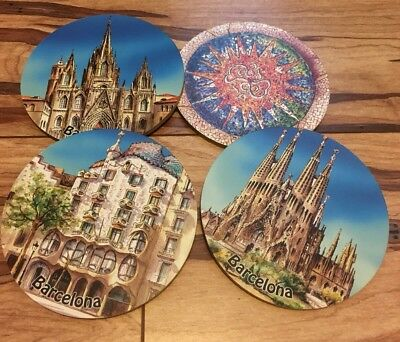 BARCELONA SPAIN Souvenir Coasters set of 4 includes Sagrada Familia
