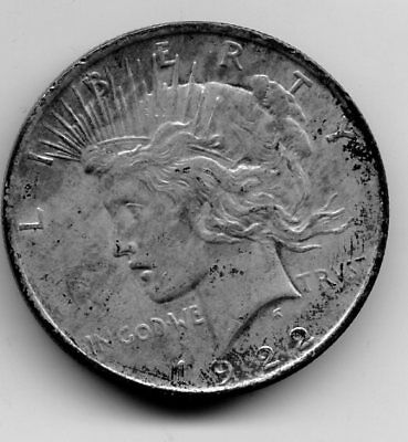 1922 * Peace Dollar Coin * 90% Silver * Very Old * Vf