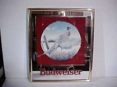 Anheuser-Busch 1992 Budweiser Beer Wildlife Series Mirrored Sign Pheasant