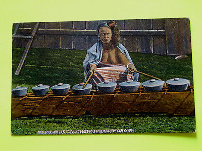 Philippine Vintage Postcard Woman Playing With Moro Musical Instrument ££¥