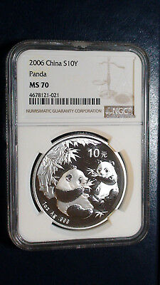 2006 China Panda 10 Yuan NGC MS 70 .999 Silver 1 Oz.