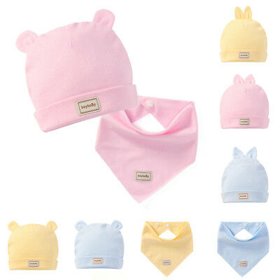Baby Boy Girl Solid Cotton Cap Summer Hat With Ears Triangle Towel Scarf Kind
