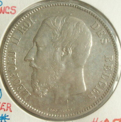 1875 Belgian 5 Franc World Silver Coin - Belgium - Leopold II Beautiful Coin
