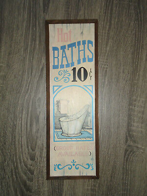 """Vintage Western """"Hot Baths 10 Cents Group Rates Available"""" Bathroom Art Picture"""