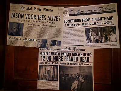 Horror Movie Newspaper Prop 3-Pk, Halloween, Friday 13th, Nightmare Elm Street