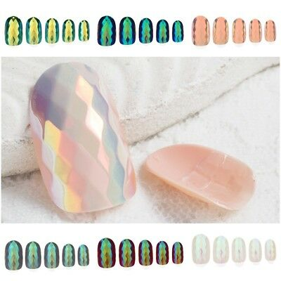 Holographic Chameleon False Fake Nails Mirror Holo Press On Laser Medium Nails