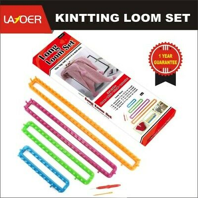 LAYOER Long Knitting Loom Set with Hook Needle Kit for Yarn Cord Knitter 4 PCS