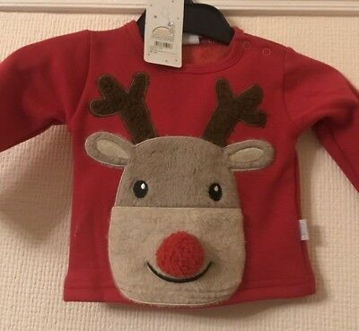 Baby Boys Girls Christmas Reindeer Jumper 0 - 12 Months Red Cream Xmas Free P+P