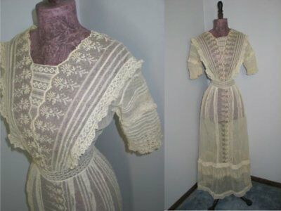 Antique Vintage Edwardian Dress French Tambour Net Mixed Normandy Lace Wedding