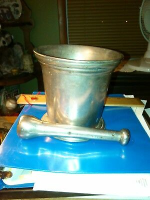 Pharmacy Antique Mortar & Pestle Nickle Plated