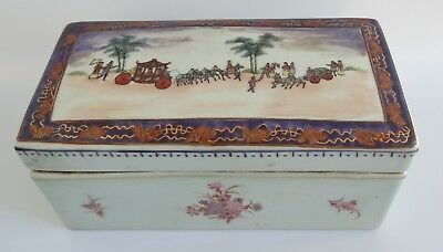 ESTATE Antique Chinese Porcelain Brush Box 19th C  Hand painted  Figures. 1802