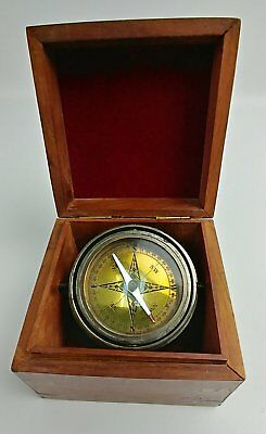 Vintage Navigation Compass In A Hand Crafted Wooden Box