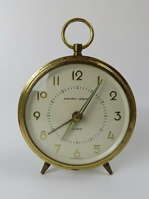 Endura Bayard Made In France Mid Century sleek alarm wind up clock works!