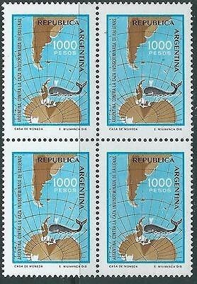 ARGENTINA Whales Antartic Map MNH block of 4