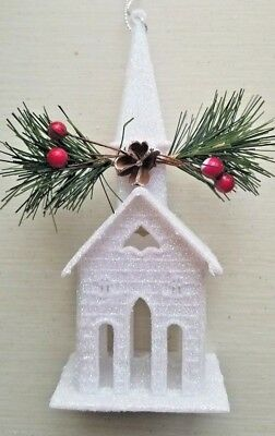 White Glitter Village House Church Ornament Steeple Tree Decoration Berries Fir