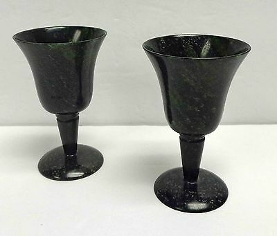 """Moss Agate Jade-Colored 3"""" Cordials SET Of Two!"""