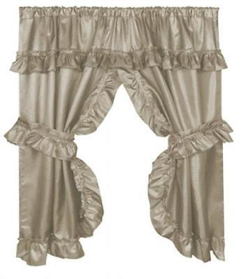 Carnation Home Fashions 70 x 45 in. Lauren Window Curtain with Ruffled Linen