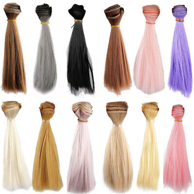 [wamami] 1pc Straight Extension DIY Wig Hair Piece For BJD Dollfie Colorful