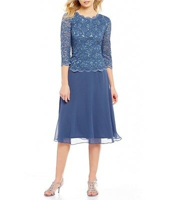 Alex Evenings Womens Blue Sequined Lace Mock Evening Dress Gown