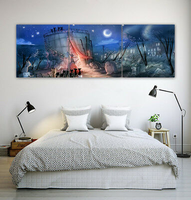 "16x16"" Living Room Wall Art Decor Print Abstract Night View Oil Painting 3Parts"