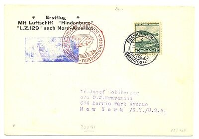 Germany 1936-5-4  Cover  By =Zeppelin Hindenburg= To Usa  F/vf