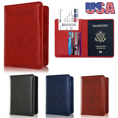 PU Leather RFID Blocking Passport Travel Wallet Holder ID Cards Cover Case Trip