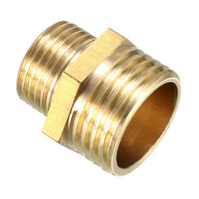 Brass Pipe Fitting, Reducing Hex Nipple, 1/2 PT Male x 3/8 PT Male Adapter