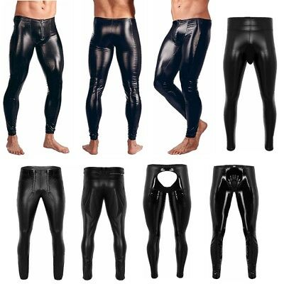 Mens Faux Leather Motorcycle Tight Pants PVC Long Trousers Party Skinny Leg Pant