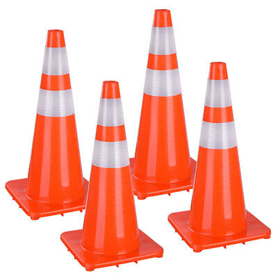 "28"" Traffic Safety Cones Reflective Collars Overlap Parking Construction 4 Pcs"