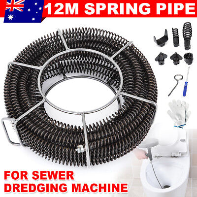 Plumber Drain Snake Pipe Pipeline Sewer Cleaner 12M w 6 Drill Bit for Drill OZ