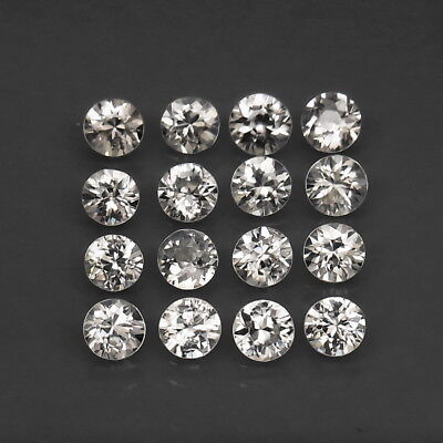 Round Diamond Cut 4 mm.Perfect Cut Natural White Zircon Cambodia 16Pcs/6.63Ct.