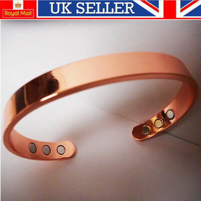 Magnetic Health Bracelet Copper Bangle Arthritis Aid Cuff 6 Magnet Pain Relief