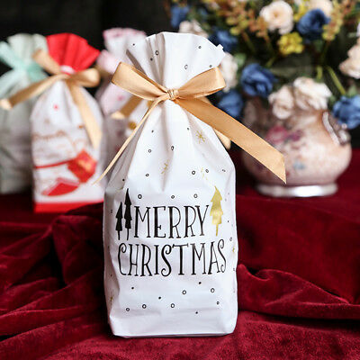50pcs Christmas Cookie Candy Bags Drawstring Wrap Present Gift Bags Storage UK