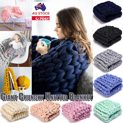 Chunky Knitted Thick Blanket Yarn Bulky Knit Throw Sofa Home Blanket